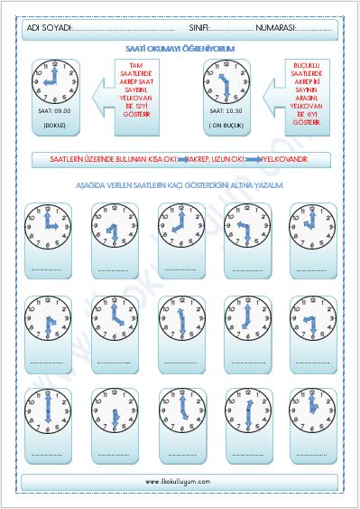 1 Sinif Matematik Zamani Olcme Saat Ilkokulluyum